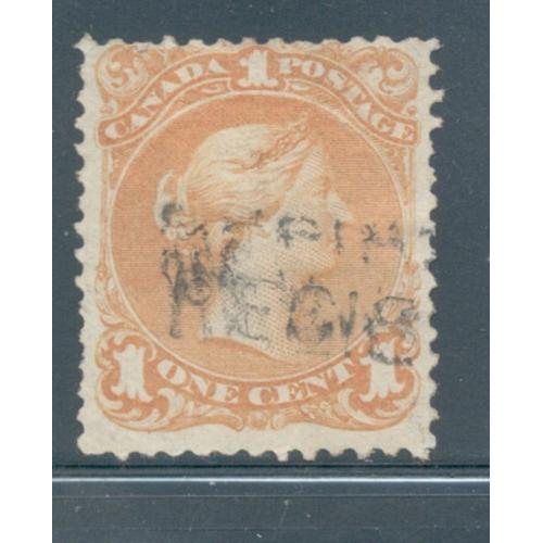 Canada Sc 23 1868 1c yellow orange large Queen Victoria stamp used
