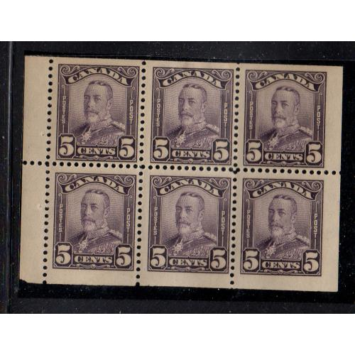 Canada Sc 153a 1928 5c violet G V  scroll issue  stamp booklet pane of 6 mint
