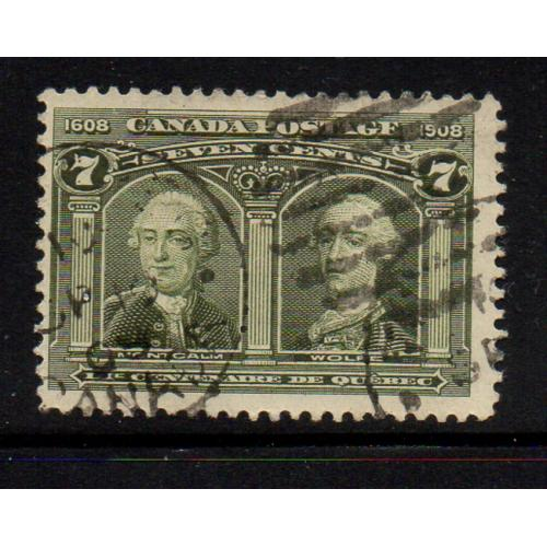 Canada Sc 100 1908 7 c Wolfe & Montcalm stamp used