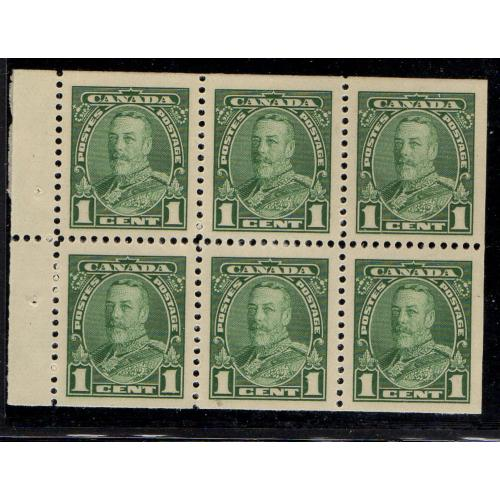 Canada Sc 217b 1935 1 c green G V  stamp booklet pane of 6 mint