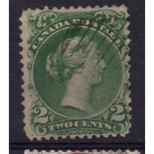 Canada Sc 24 1868 2 c green Large Queen Victoria stamp used