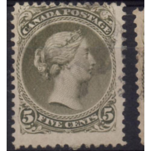 Canada Sc 26 1875 5c olive green Large Queen Victoria stamp used