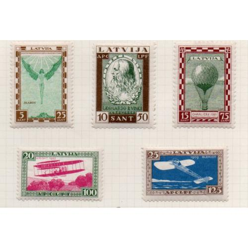 Latvia Sc CB9-13 1932 History of Flight stamp set mint