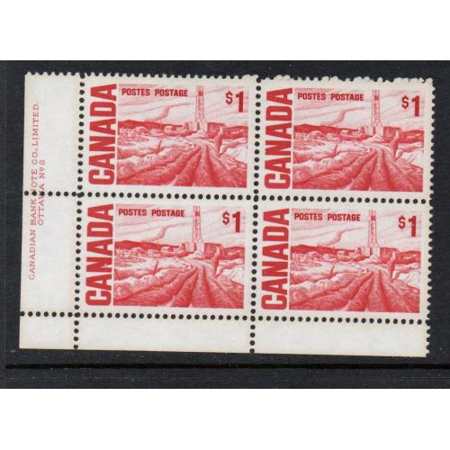 Canada Sc 465b  Plate 2 1971 $1 Oil Field stamp Plate Block of 4 LL mint NH