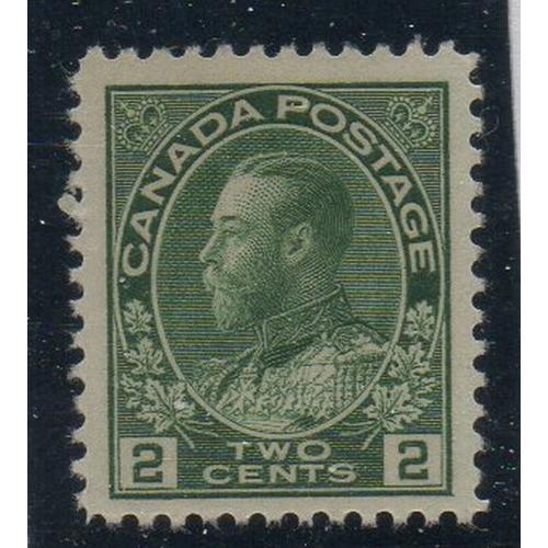 Canada Sc 107 1922 2c yellow green George V Admiral stamp VF NH
