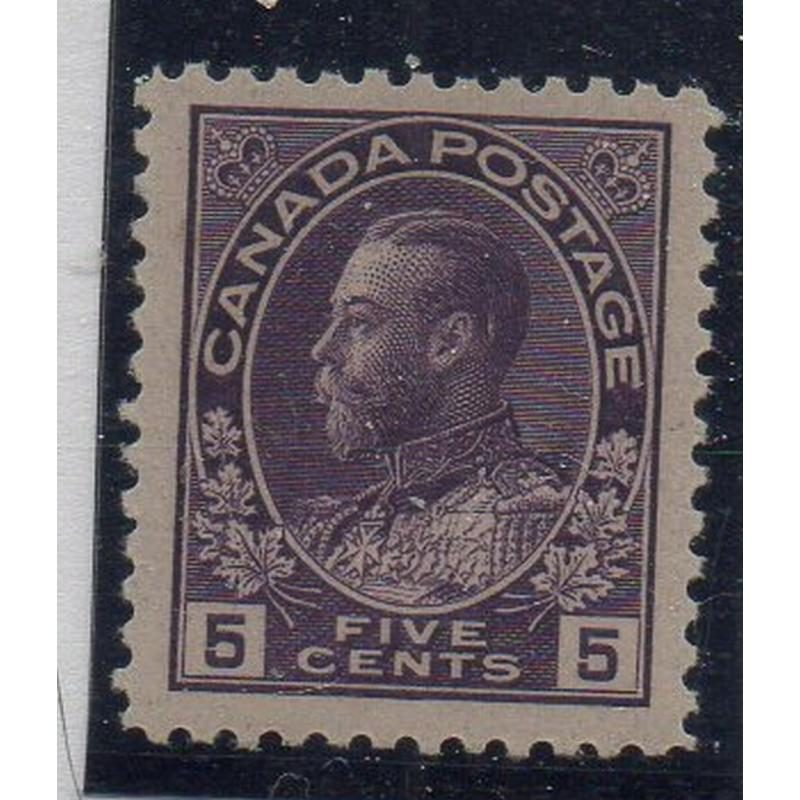 Canada Sc 112a 1924 5 c violet G V Admiral Thin Paper stamp NH