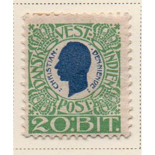 Danish West Indies Sc 33 1905 20 b green & blue Christian IX stamp mint