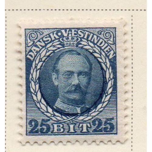Danish West Indies Sc 47 1908 25 bit blue & light blue Frederik VIII stamp mint