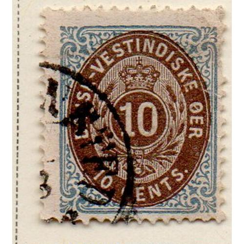 Danish West Indies Sc 10 1876 blue & brown stamp used
