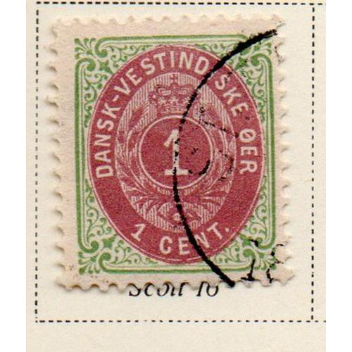 Danish West Indies Sc 16 1898 1 c green & red violet stamp used