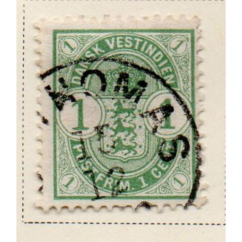 Danish West Indies Sc 21 1900 1 cent light green seal stamp used