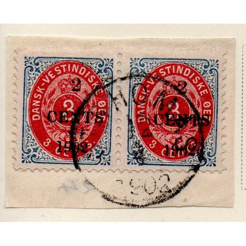 Danish West Indies Sc 27 1902 2c on 3c  stamp pair used on piece