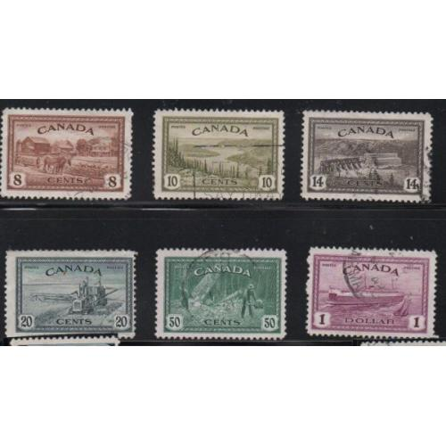 Canada Sc 268-73 1946 Peace stamp set used