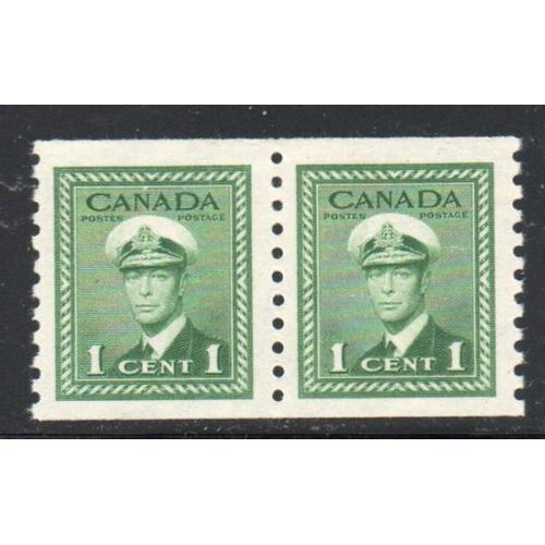 Canada Sc 278 19481c G VI coil stamp  pair mint prf 9 1/2
