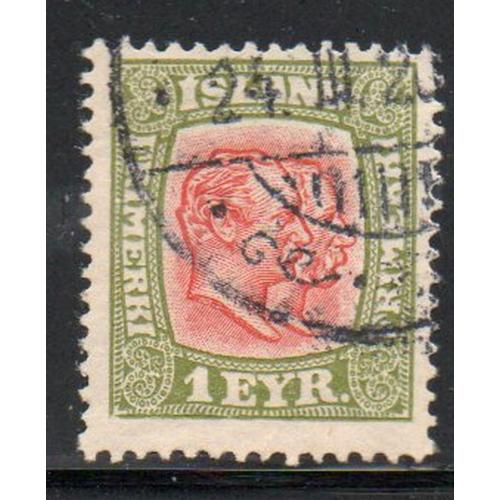 Iceland Sc 99 1915 1 e 2 Kings stamp used