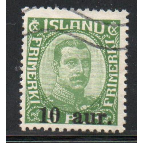 Iceland Sc 139 1922 10 aur ovpt on 5 a Christian X stamp used