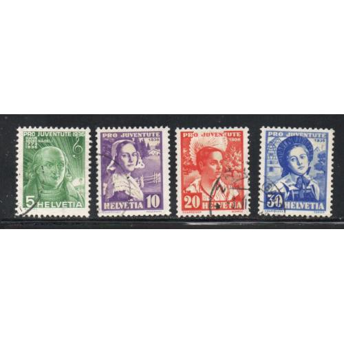 Switzerland Sc B81-84 1936 Pro Juventute Girls stamp set used