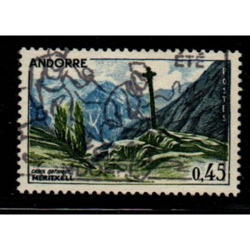 Andorra (Fr) Sc 149 1961 45c Gothic Cross stamp used