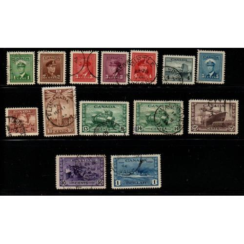 Canada Sc 249-262 1942 G VI WW II long stamp set stamp used
