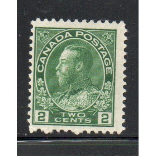 Canada Sc 107 1922 2c yellow green  George V Admiral stamp mint