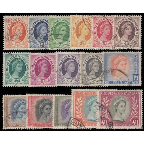 Rhodesia & Nyasaland #141-155 Used Set