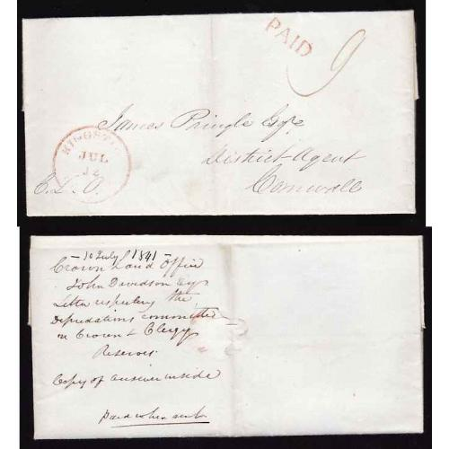 Canada-#11310 - Stampless folded letter to James Pringle Esq, District Agent, Corn