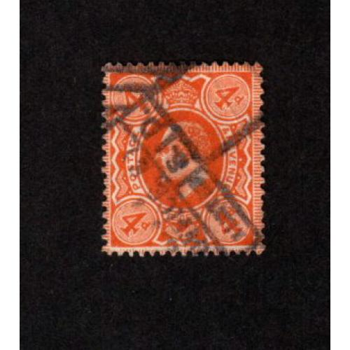GREAT BRITAIN USED KING EDWARD VII 4p ORANGE SCOTT # 150
