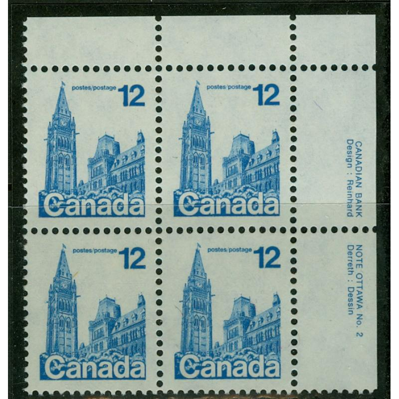 CANADA #714iv T1, 12c Parliament UR plate block, completely UNTAGGED