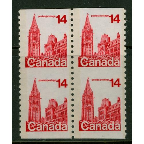 CANADA #730iv, 14c Parliament coil BLOCK, imperforate between