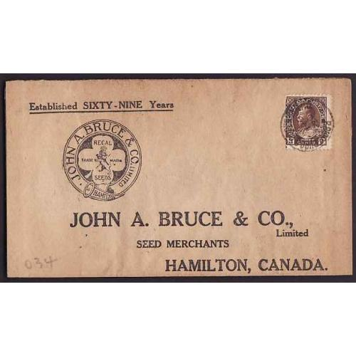 Canada-Scan #10527 - 3c Admiral on John A Bruce and Co. advertising cover - Bridg