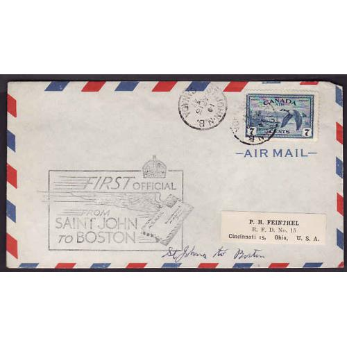 Canada-#10773 - 7c airmail on first flight St. John to Boston - St. John, NB - Ap 15