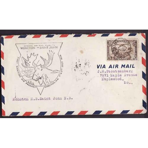 Canada-#10833 - 5c Airmail on  Special airmail flights Moncton to Saint John - First