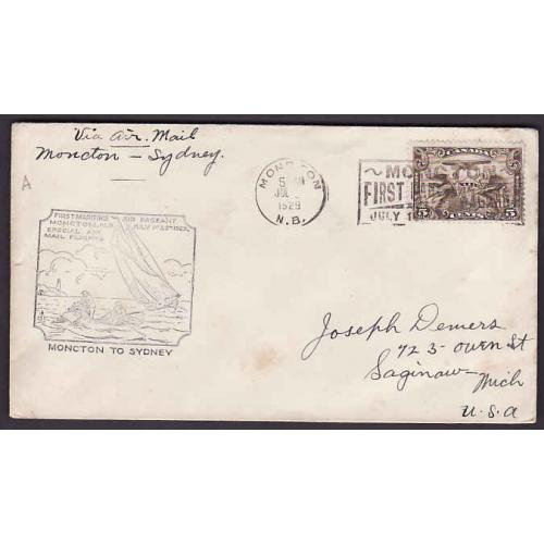 Canada-#10926 - 5c airmail on first flight Moncton to Sydney - Moncton, NB -