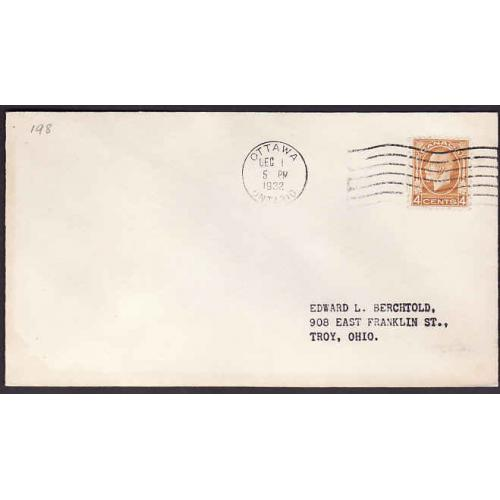Canada-#10938 - 4c KGV Medallion on FDC [#198] - Carlton County - Ottawa,
