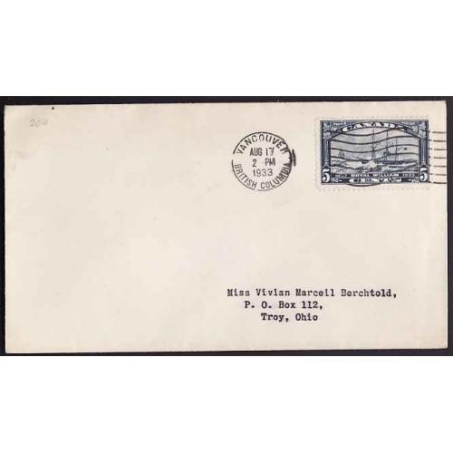Canada-#10942 - 5c Royal William on FDC [#204] - Vancouver, BC - Aug 17 1933 -