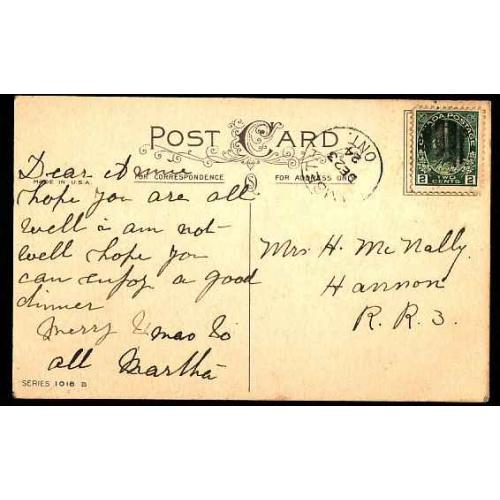Canada-#11086 - 2c Admiral on postcard - Middlesex County - Lambeth, Ont cds -