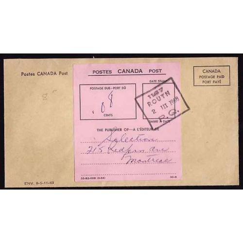 Canada-#11110 - Canada Postage Paid envelope with postage due label [ 33-82-