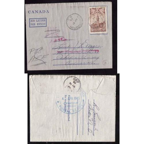 Canada-#11208 - 10c Parliament on air letter to Canadian Army Overseas - re-rout