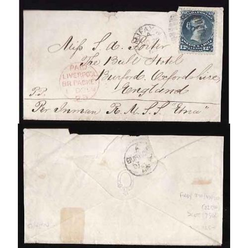 Canada-#11218 - 12&1/2c Large Queen on cover to England - Halifax, NS duplex