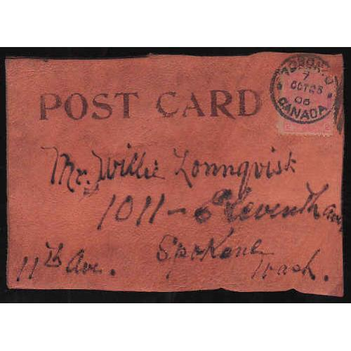 Canada-#11189 - 2c KEVII on leather postcard to USA - Toronto, Ont - Oct 23 19