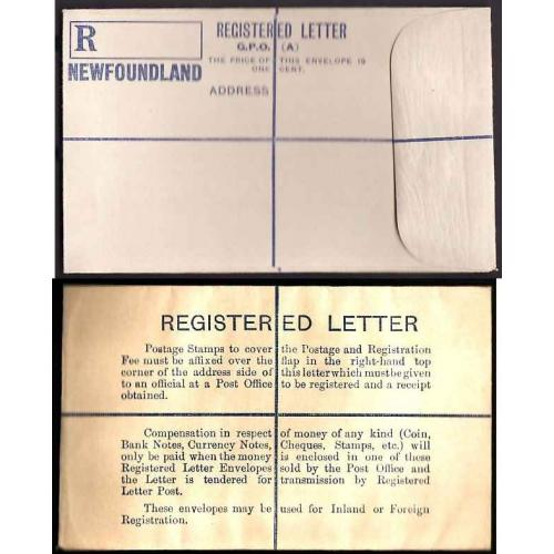 Newfoundland-#11294 - unused registered envelope with rounded flap [RE1] -