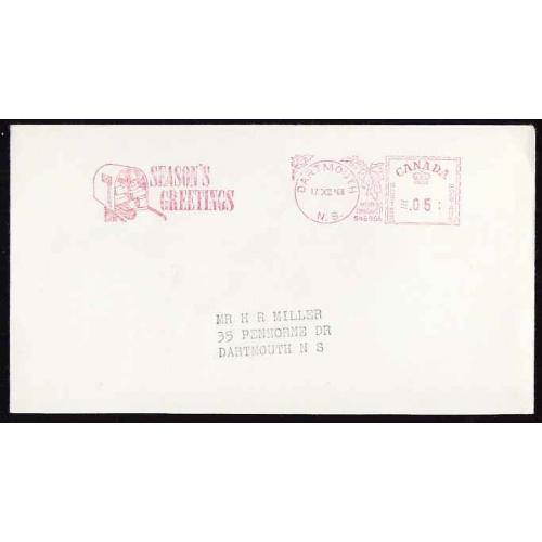 Canada-#11452 - 5c meter #546956 on envelope - Dartmouth, NS - 17 XII 1968 -