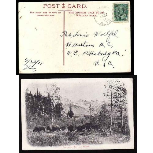 Canada-#11589 - 1c Edward on postcard to USA - Banff, Alta - Jul 22 1911  - view