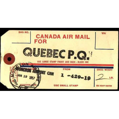 Canada-#11582 - Canada airmail bag tag from Moncton, NB Jan 19 1957 to Queb