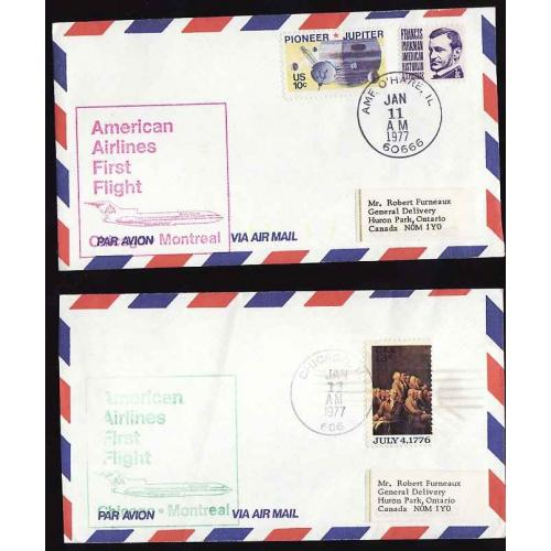 USA-#11940 - Two American Airlines First Flight Chicago to Montreal covers-