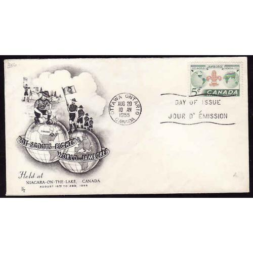Canada-#11927 - 5c Jamboree with a black cacheted FDC [#356]-Ottawa Ontario,Canada-Aug 20 1955-