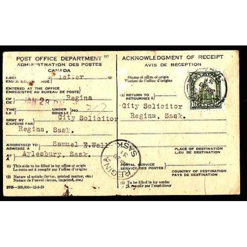 Canada-#12372 - 10c Library on AR card - Regina, Sask - Jan 28 1931 -