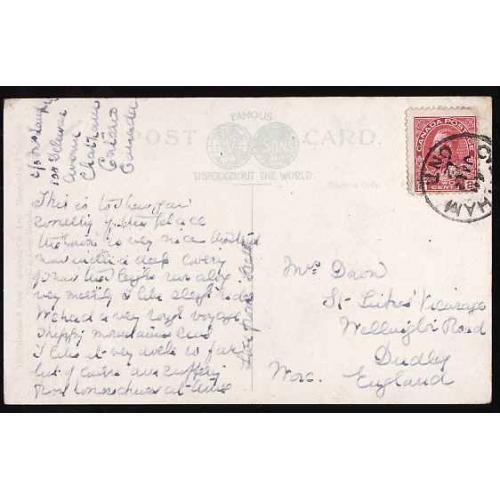 Canada-#12511 - 2c Admiral on postcard to the UK - Kent County - Chatham,  -