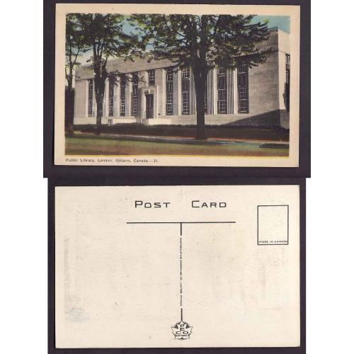 Canada-#12781-unused PECO postcard-Library-London, Ont-