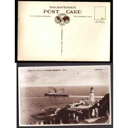 Isle of Man-#12872-unused Valentine's p/c-Douglas Head Lighthouse IOM--